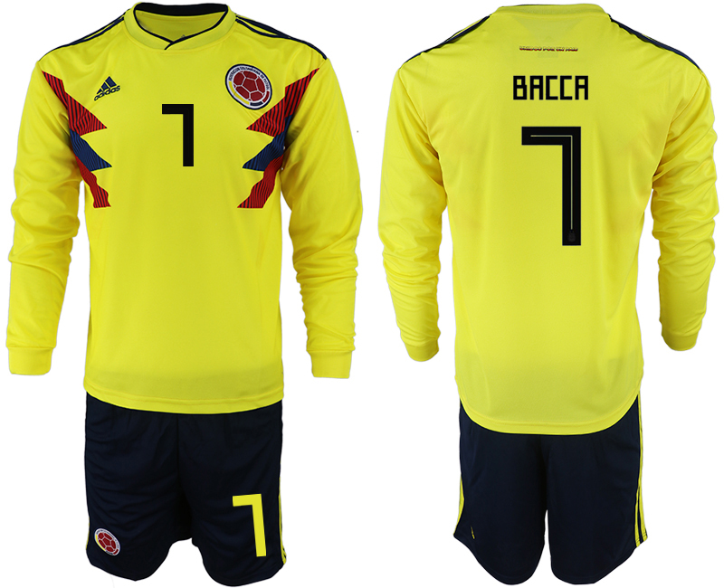 Colombia 7 BACCA Home 2018 FIFA World Cup Long Sleeve Soccer Jersey