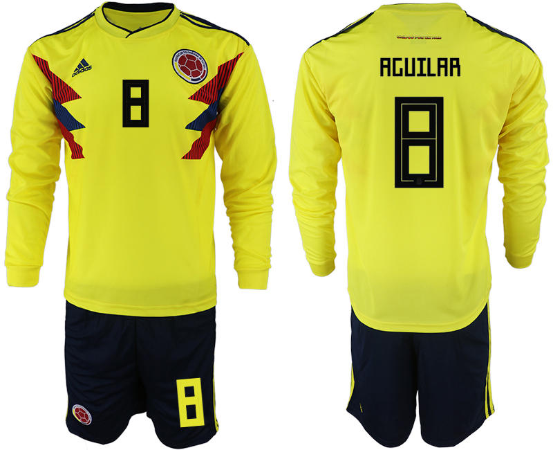 Colombia 8 AGUILAR Home 2018 FIFA World Cup Long Sleeve Soccer Jersey