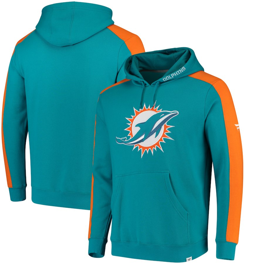 Miami Dolphins NFL Pro Line by Fanatics Branded Iconic Pullover Hoodie Aqua