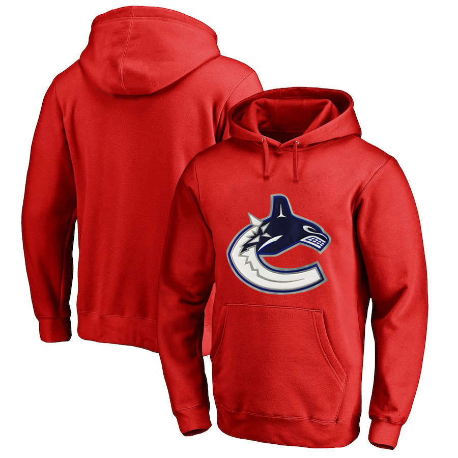 Vancouver Canucks Red All Stitched Pullover Hoodie
