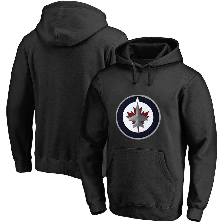 Winnipeg Jets Black All Stitched Pullover Hoodie