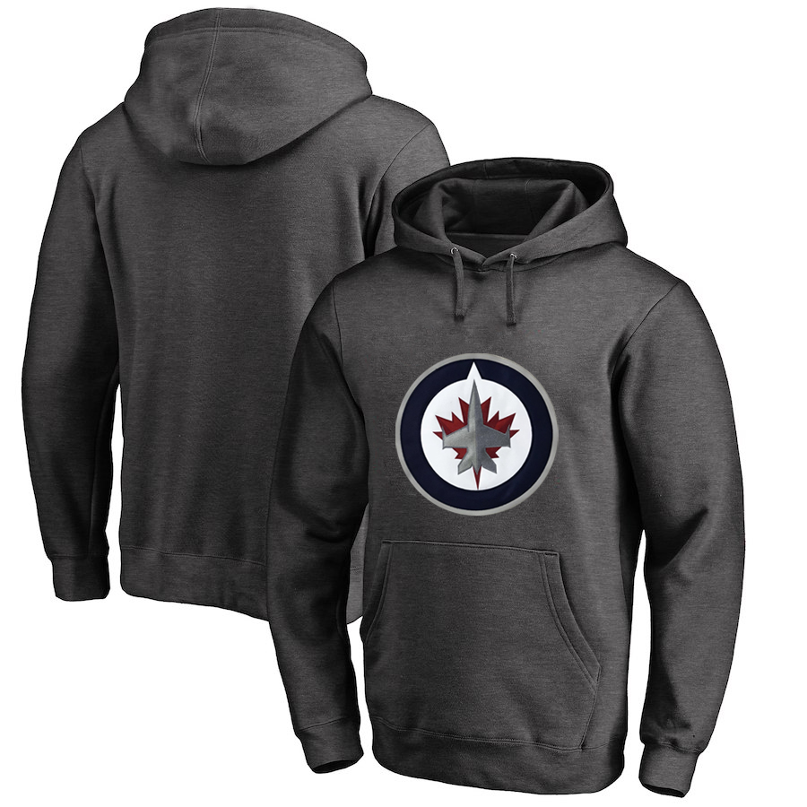 Winnipeg Jets Dark Gray All Stitched Pullover Hoodie