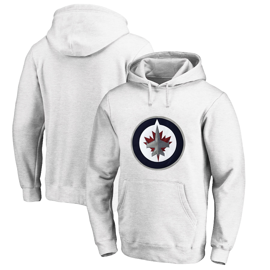 Winnipeg Jets White All Stitched Pullover Hoodie