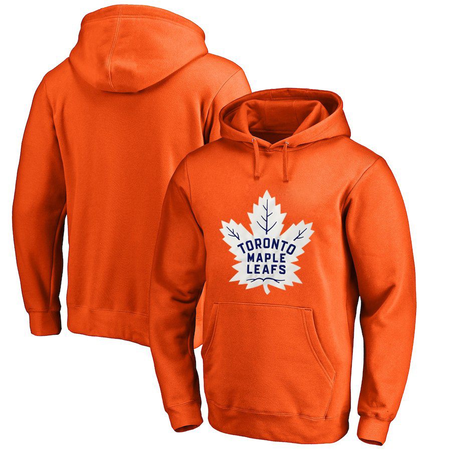 Toronto Maple Leafs Orange Men's Customized All Stitched Pullover Hoodie