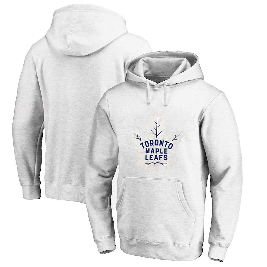 Toronto Maple Leafs White Men's Customized All Stitched Pullover Hoodie