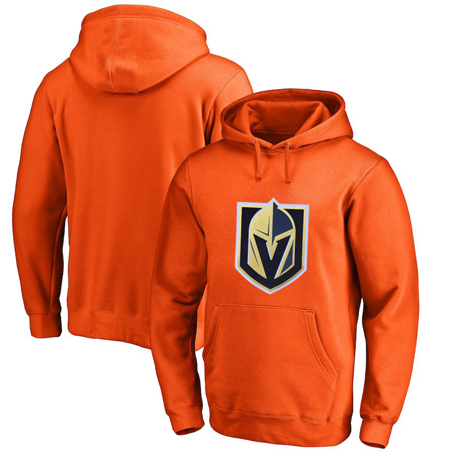 Vegas Golden Knights Orange Men's Customized All Stitched Pullover Hoodie