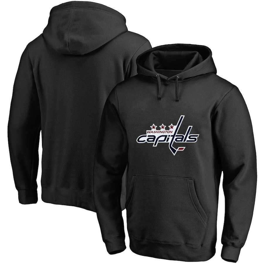 Washington Capitals Black Men's Customized All Stitched Pullover Hoodie