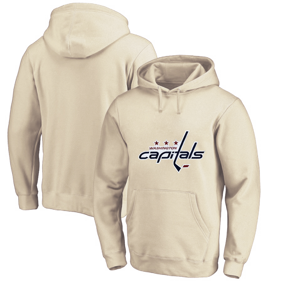 Washington Capitals Cream Men's Customized All Stitched Pullover Hoodie