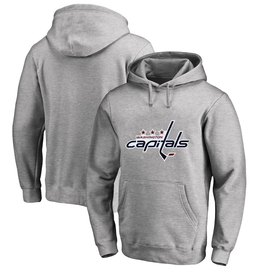 Washington Capitals Gray Men's Customized All Stitched Pullover Hoodie