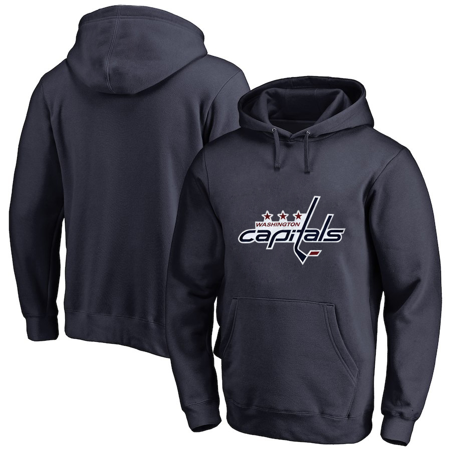 Washington Capitals Navy Men's Customized All Stitched Pullover Hoodie