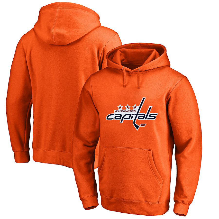 Washington Capitals Orange Men's Customized All Stitched Pullover Hoodie