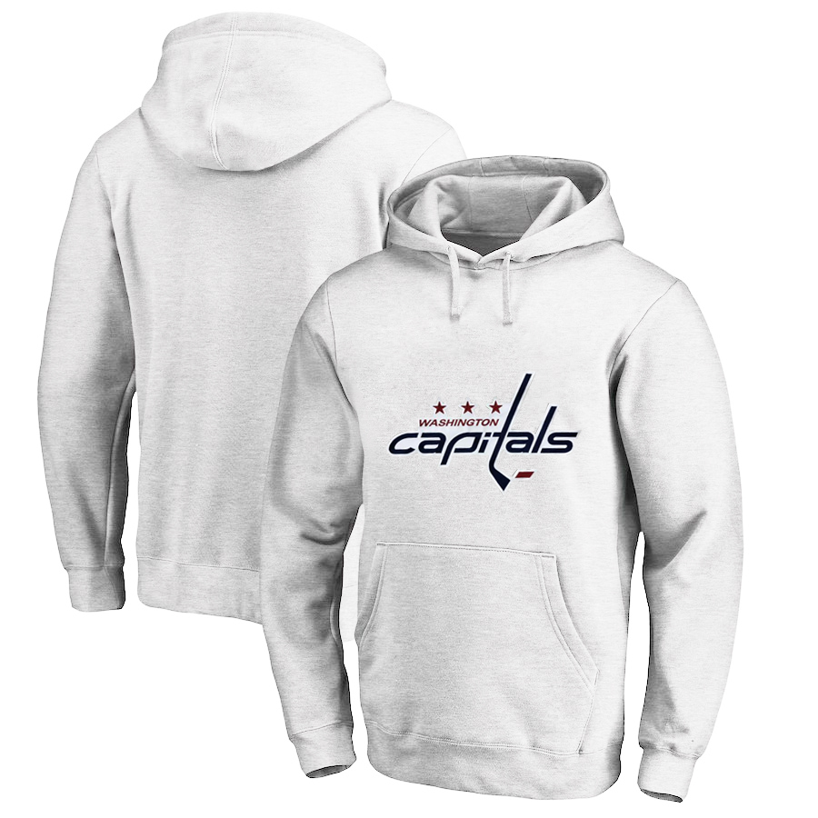 Washington Capitals White Men's Customized All Stitched Pullover Hoodie