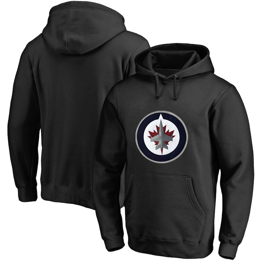Winnipeg Jets Black Men's Customized All Stitched Pullover Hoodie