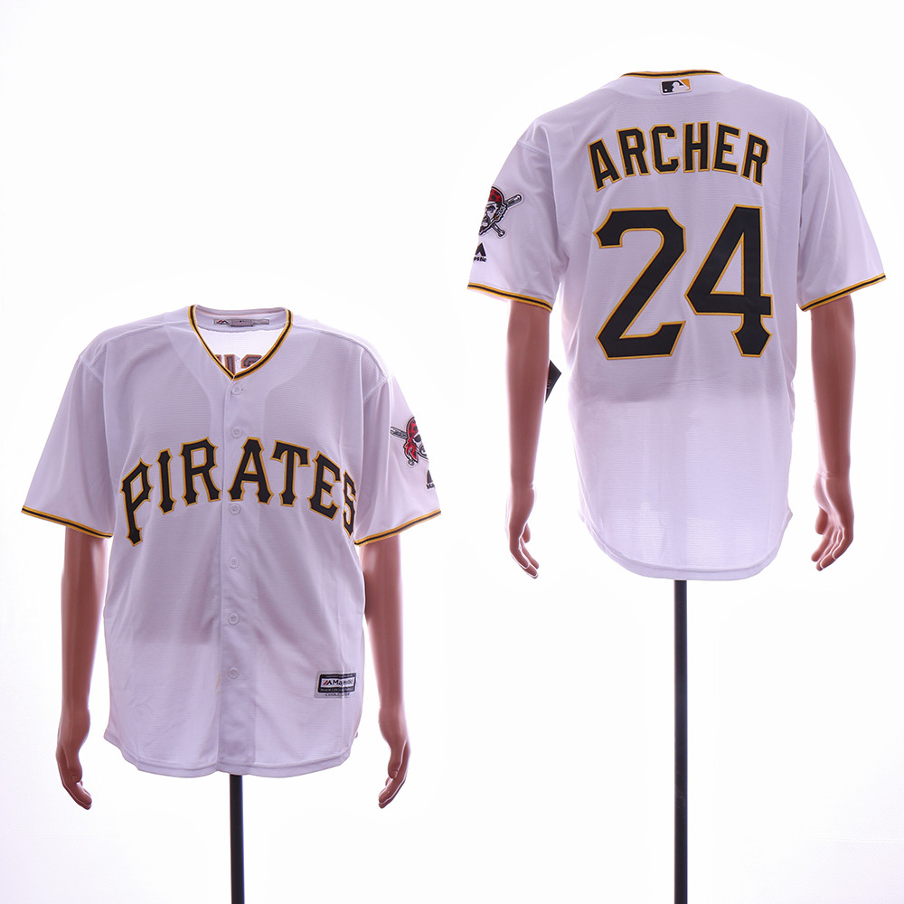 Pirates 24 Chris Archer White Cool Base Jersey