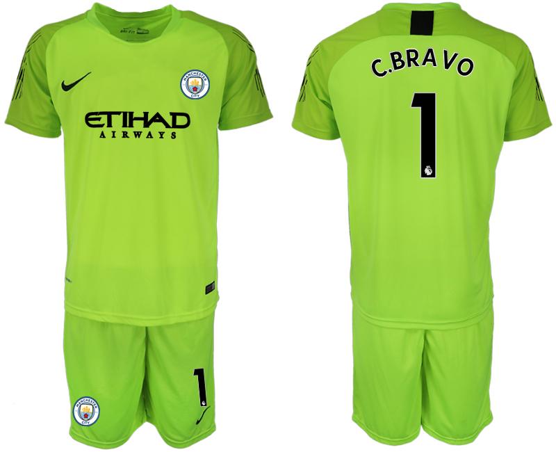 2018-19 Manchester City 1 C.BRAVO Fluorescent Green Goalkeeper Soccer Jersey