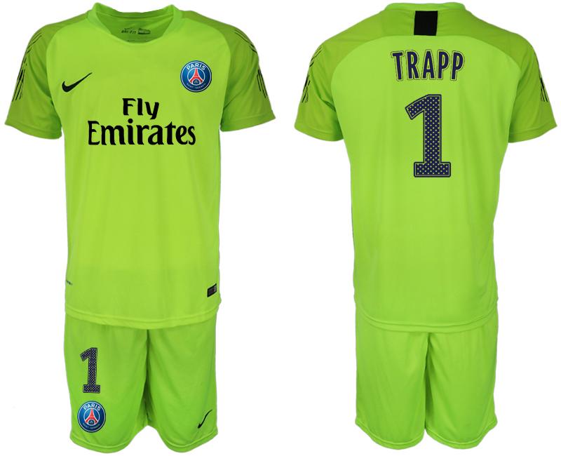 2018-19 Paris Saint-Germain 1 TRAPP Home Fluorescent Green Goalkeeper Soccer Jersey