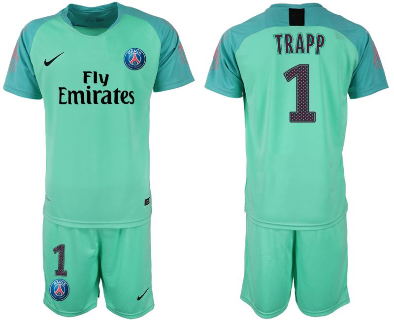 2018-19 Paris Saint-Germain 1 TRAPP Home Green Goalkeeper Soccer Jersey