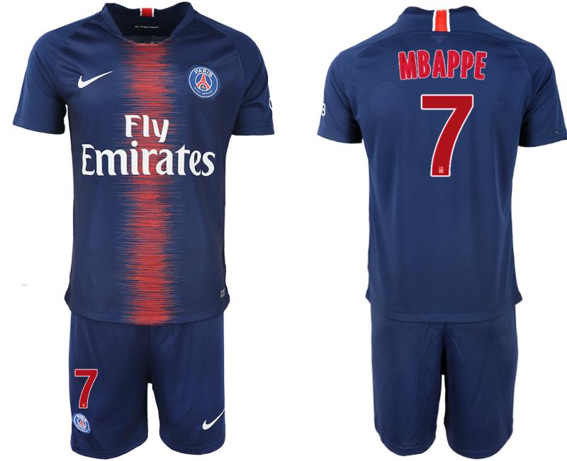 2018-19 Paris Saint-Germain 7 MBAPPE Home Soccer Jersey
