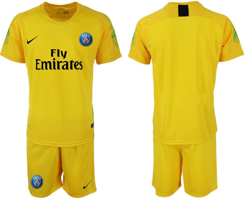 2018-19 Paris Saint-Germain Home Yellow Goalkeeper Soccer Jersey