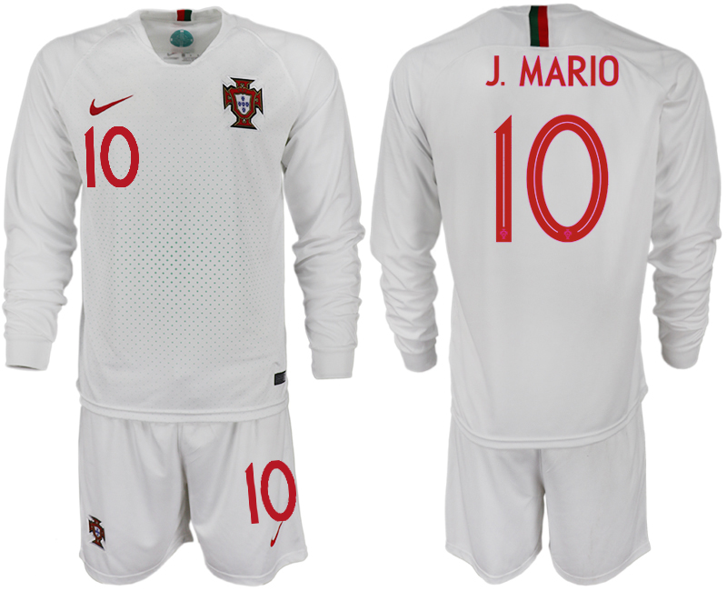 Portugal 10 J. MARIO Away 2018 FIFA World Cup Long Sleeve Soccer Jersey