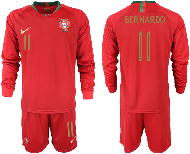 Portugal 11 BERNARDO Home 2018 FIFA World Cup Long Sleeve Soccer Jersey