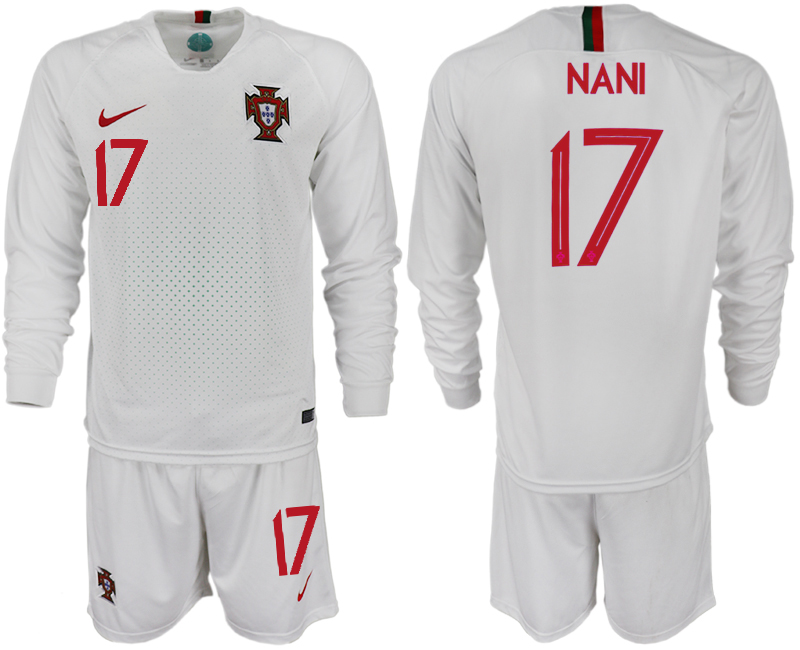 Portugal 17 NANI Away 2018 FIFA World Cup Long Sleeve Soccer Jersey