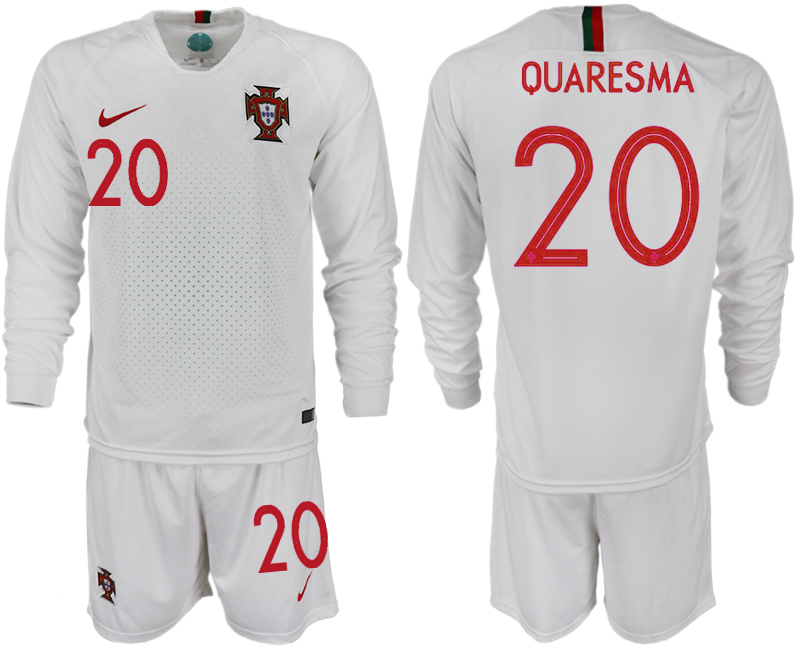 Portugal 20 QUARESMA Away 2018 FIFA World Cup Long Sleeve Soccer Jersey