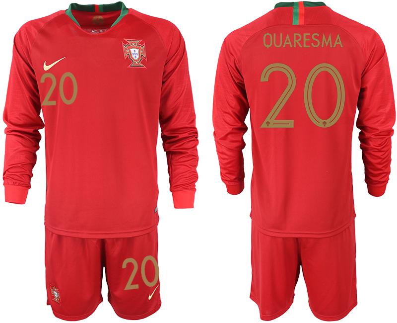 Portugal 20 QUARESMA Home 2018 FIFA World Cup Long Sleeve Soccer Jersey