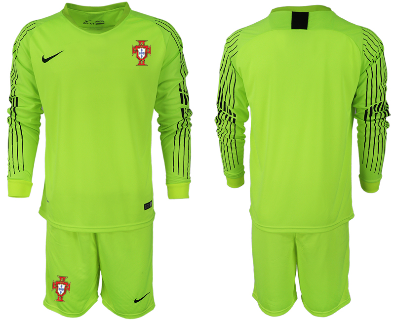 Portugal 2018 FIFA World Cup Fluorescent Green Goalkeeper Long Sleeve Soccer Jersey