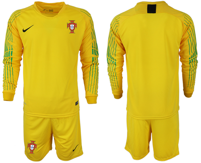 Portugal 2018 FIFA World Cup Yellow Goalkeeper Long Sleeve Soccer Jersey