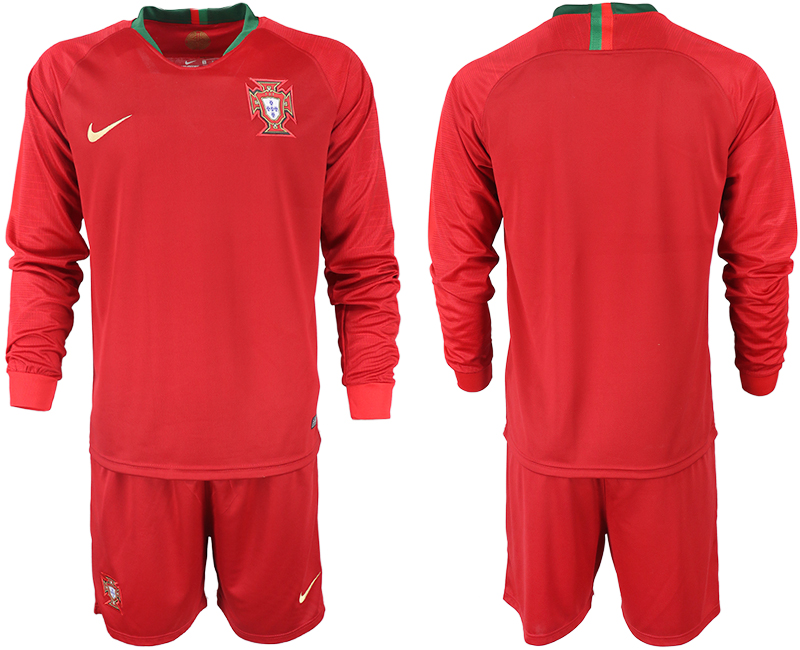 Portugal Home 2018 FIFA World Cup Long Sleeve Soccer Jersey