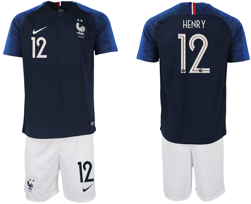 France 12 HENRY Home 2018 FIFA World Cup Soccer Jersey