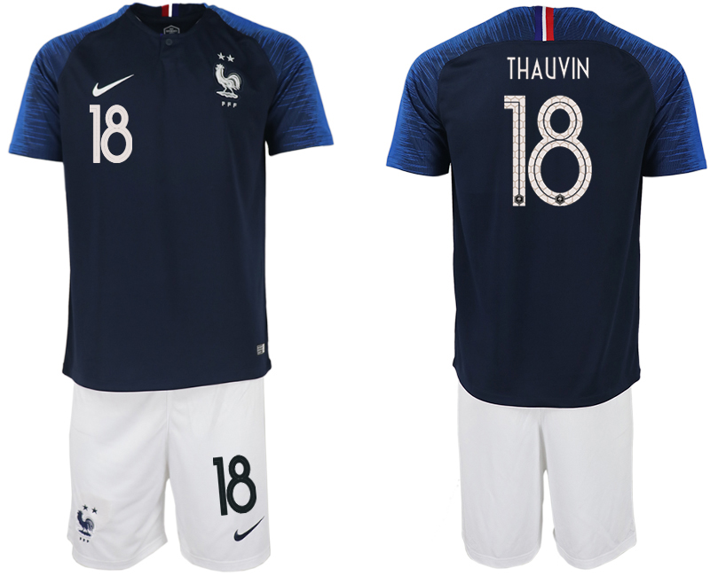 France 18 THAUVIN Home 2018 FIFA World Cup Soccer Jersey