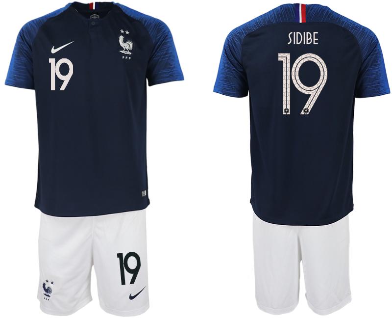 France 19 SIDIBE Home 2018 FIFA World Cup Soccer Jersey