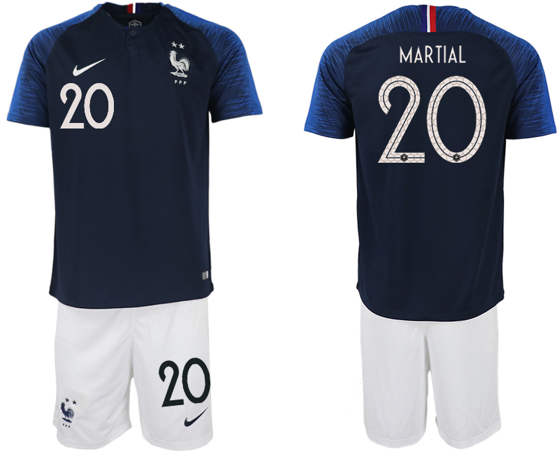 France 20 MARTIAL Home 2018 FIFA World Cup Soccer Jersey