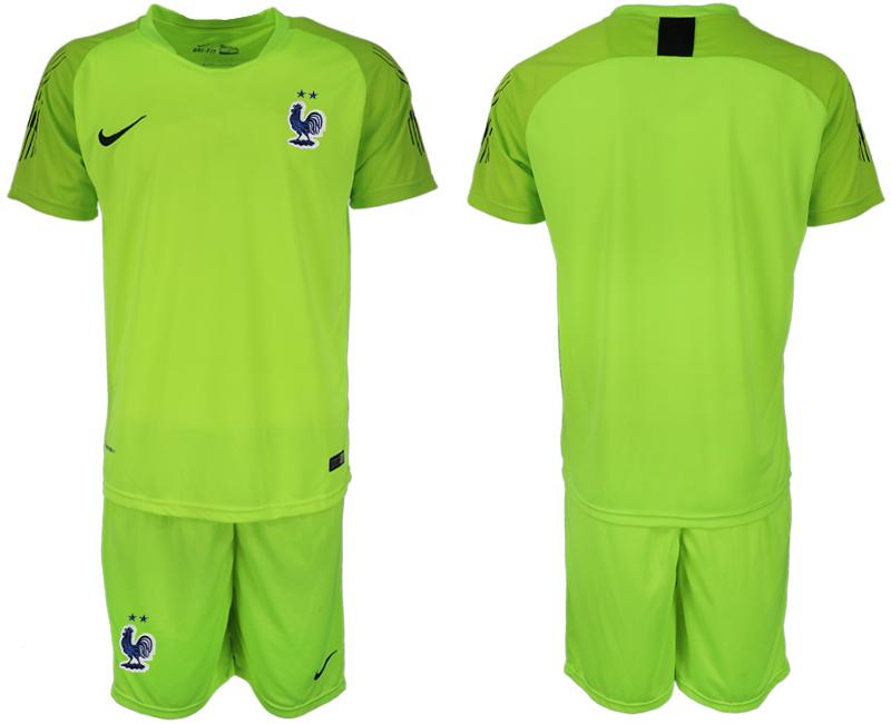 France 2018 FIFA World Cup Fluorescent Green Goalkeeper Soccer Jersey