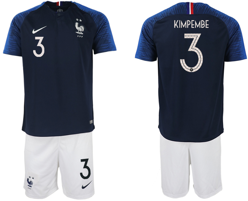 France 3 KIMPEMBE Home 2018 FIFA World Cup Soccer Jersey