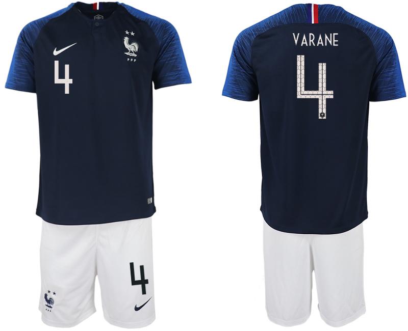 France 4 VARANE Home 2018 FIFA World Cup Soccer Jersey