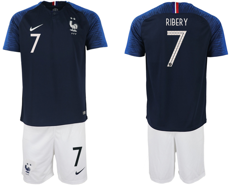 France 7 RIBERY Home 2018 FIFA World Cup Soccer Jersey