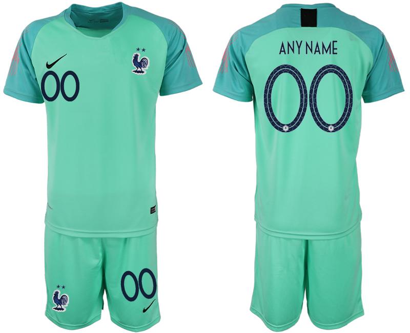 France Customized 2018 FIFA World Cup Green Goalkeeper Soccer Jersey