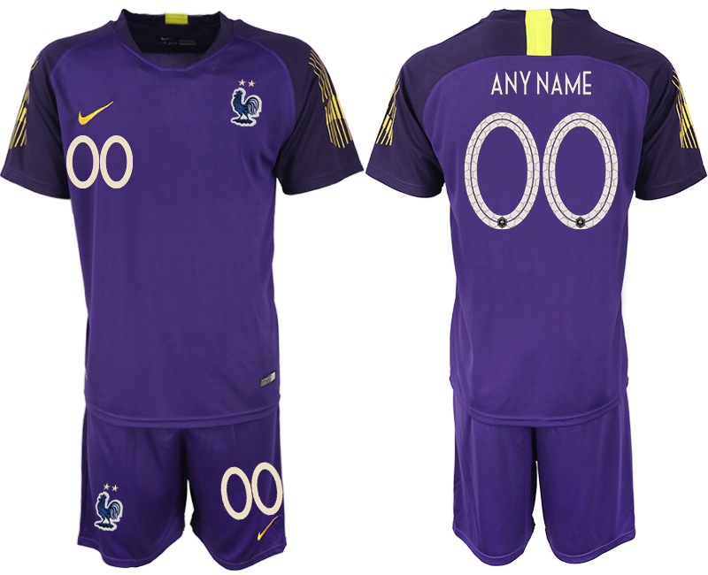 France Customized 2018 FIFA World Cup Violet Goalkeeper Soccer Jersey