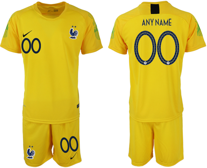 France Customized 2018 FIFA World Cup Yellow Goalkeeper Soccer Jersey