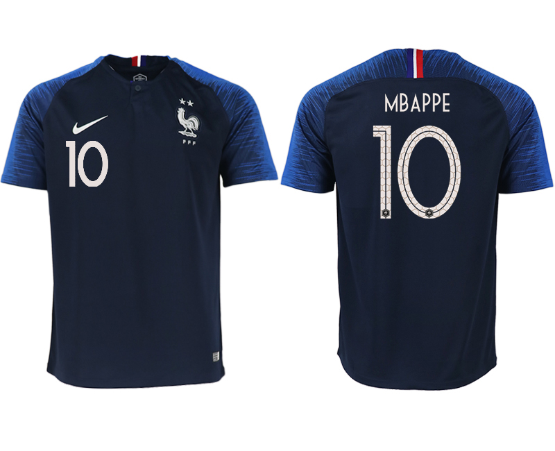 France 10 MBAPPE Home 2018 FIFA World Cup Thailand Soccer Jersey