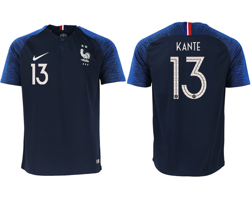 France 13 KANTE Home 2018 FIFA World Cup Thailand Soccer Jersey