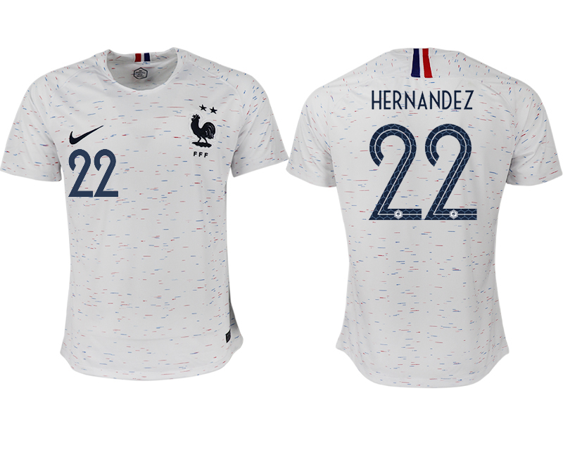 France 22 HERNANDEZ Away 2018 FIFA World Cup Thailand Soccer Jersey
