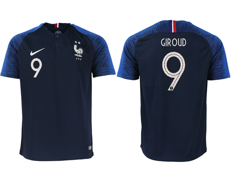 France 9 GIROUD Home 2018 FIFA World Cup Thailand Soccer Jersey