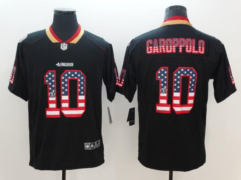 Nike 49ers 10 Jimmy Garoppolo Black USA Flag Fashion Limited Jersey