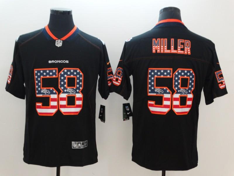 Nike Broncos 58 Von Miller Black USA Flag Fashion Limited Jersey