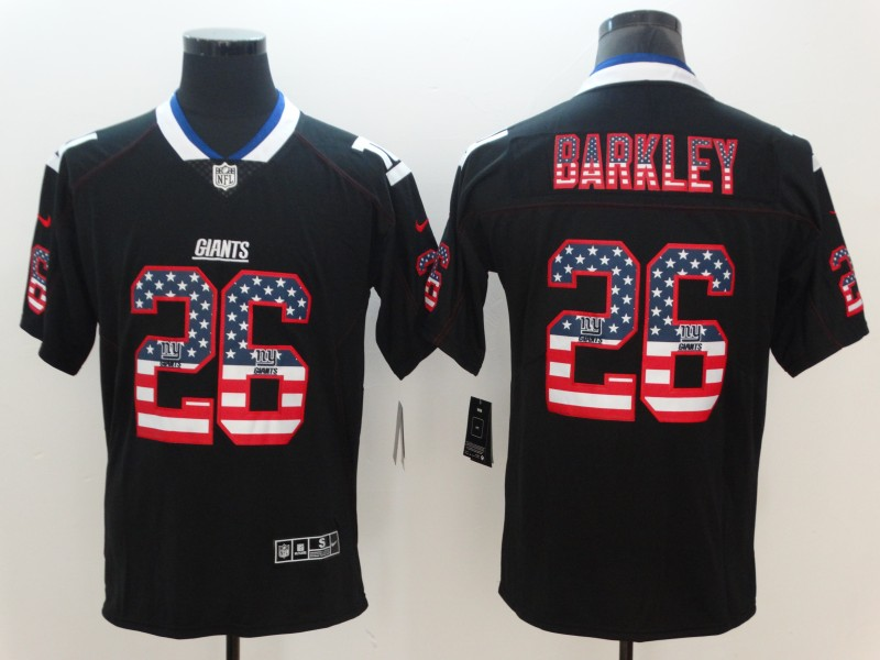 Nike Giants 26 Saquon Barkley Black USA Flag Fashion Limited Jersey