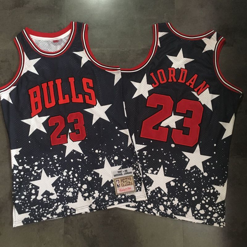 Bulls 23 Michael Jordan Black Independence Day Stitched Basketball Jersey
